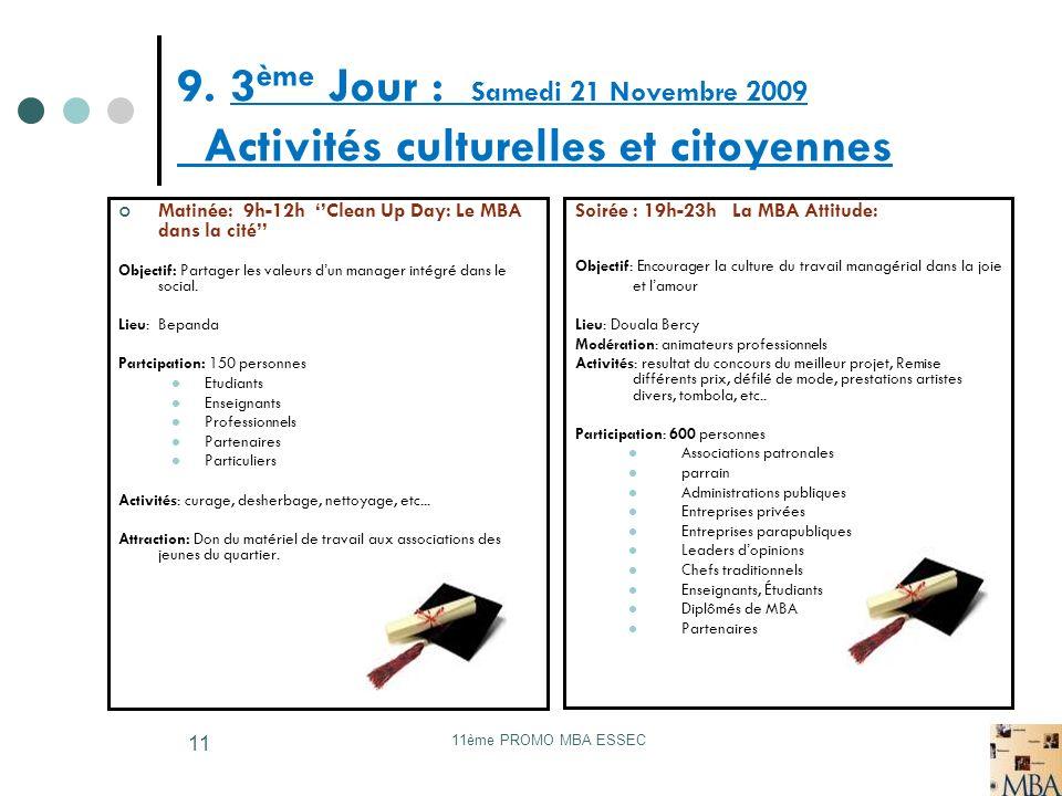 11ème PROMO MBA ESSEC 11 9. 3 ème Jour : Samedi 21 Novembre 2009 Activités culturelles et citoyennes Matinée: 9h-12h Clean Up Day: Le MBA dans la cité