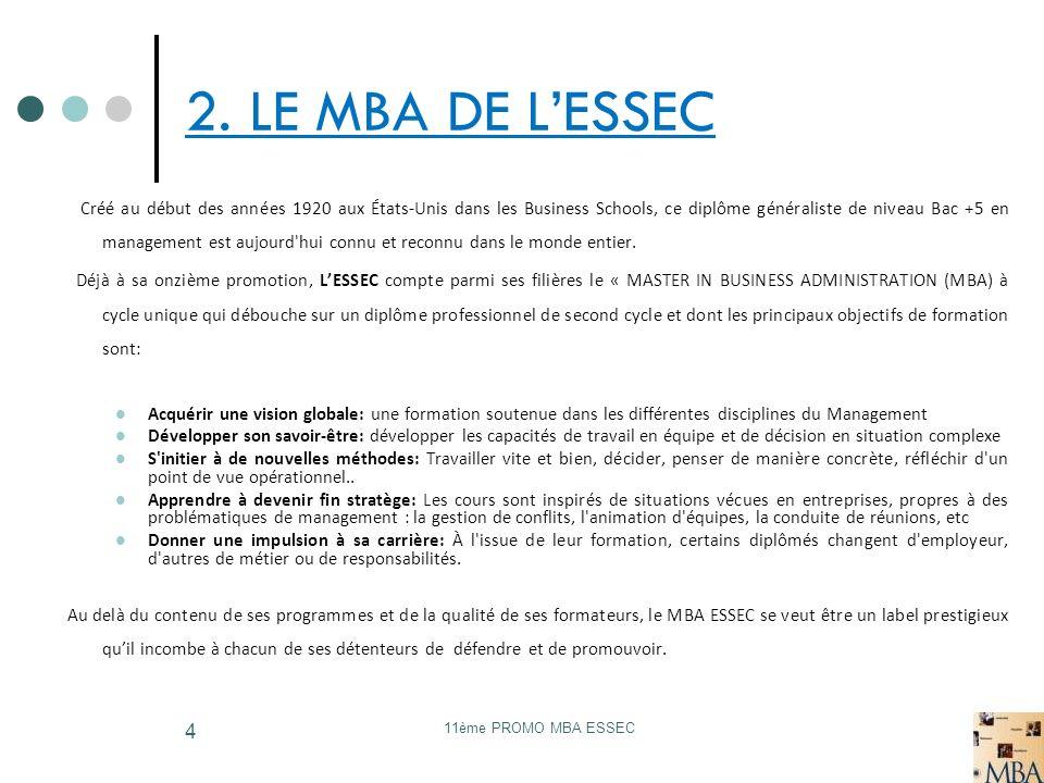 11ème PROMO MBA ESSEC 4 2. LE MBA DE LESSEC Créé au début des années 1920 aux États-Unis dans les Business Schools, ce diplôme généraliste de niveau B