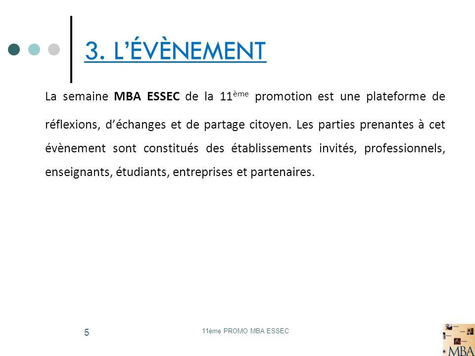 11ème PROMO MBA ESSEC 5 3. LÉVÈNEMENT La semaine MBA ESSEC de la 11 ème promotion est une plateforme de réflexions, déchanges et de partage citoyen. L