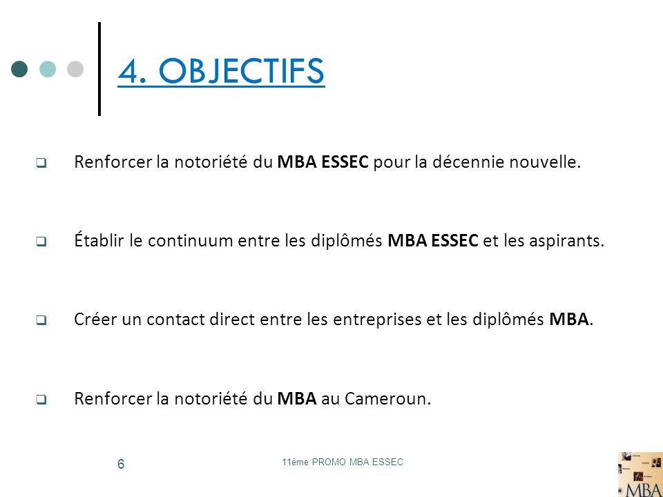 11ème PROMO MBA ESSEC 6 4. OBJECTIFS Renforcer la notoriété du MBA ESSEC pour la décennie nouvelle. Établir le continuum entre les diplômés MBA ESSEC