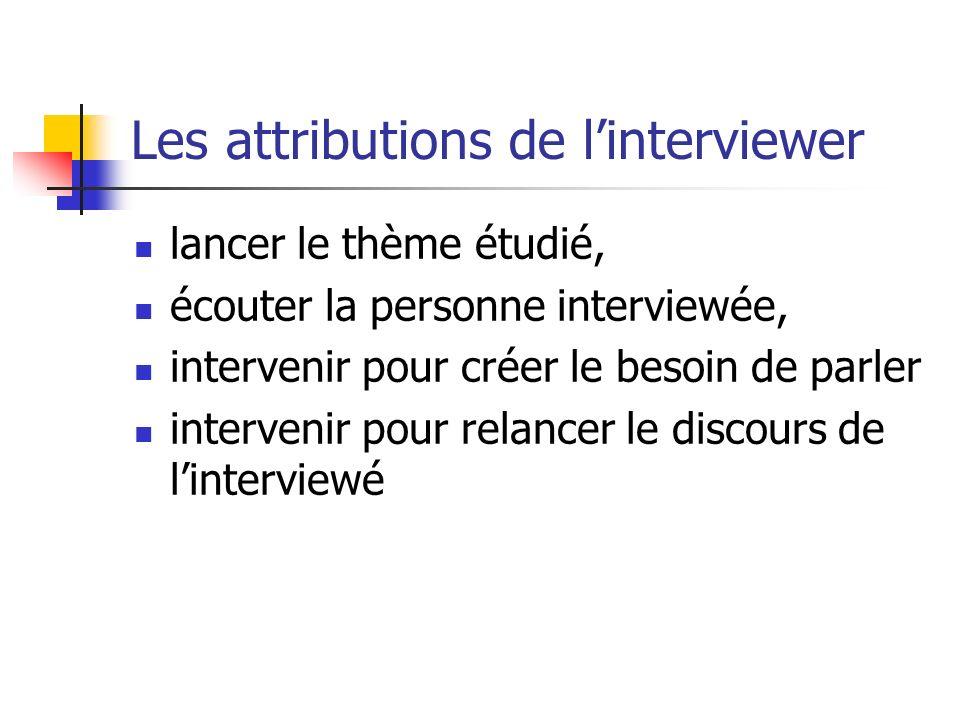 Les attributions de linterviewer lancer le thème étudié, écouter la personne interviewée, intervenir pour créer le besoin de parler intervenir pour re