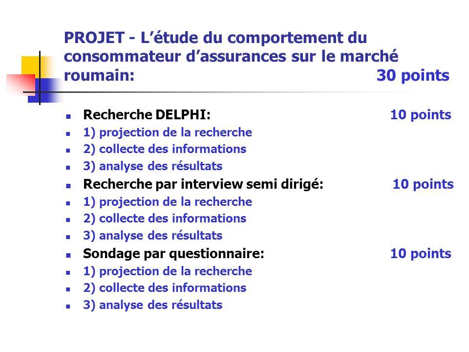 PROJET - Létude du comportement du consommateur dassurances sur le marché roumain: 30 points Recherche DELPHI: 10 points 1) projection de la recherche
