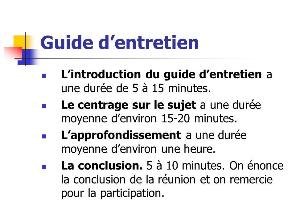 Guide dentretien Lintroduction du guide dentretien a une durée de 5 à 15 minutes. Le centrage sur le sujet a une durée moyenne denviron 15-20 minutes.
