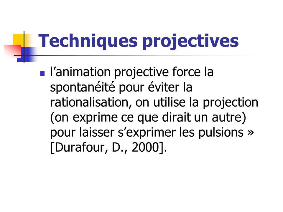 Techniques projectives lanimation projective force la spontanéité pour éviter la rationalisation, on utilise la projection (on exprime ce que dirait u