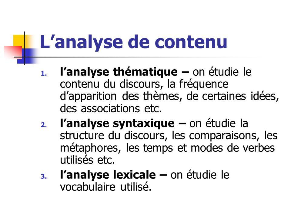 Lanalyse de contenu 1. lanalyse thématique – on étudie le contenu du discours, la fréquence dapparition des thèmes, de certaines idées, des associatio