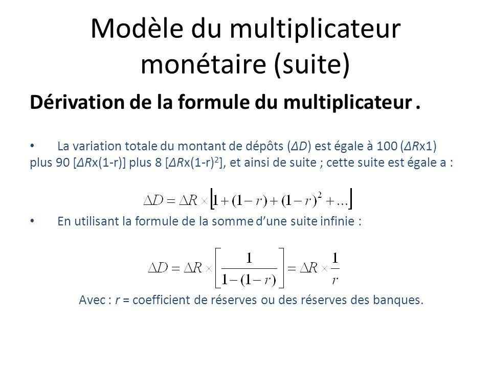 Modèle du multiplicateur monétaire (suite) Dérivation de la formule du multiplicateur. La variation totale du montant de dépôts (ΔD) est égale à 100 (