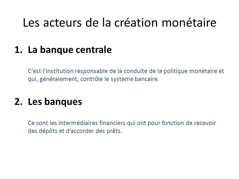 Les acteurs de la création monétaire (suite) 3.Les déposants Ce sont les agents économiques – individus et institutions – qui détiennent des dépôts bancaires.