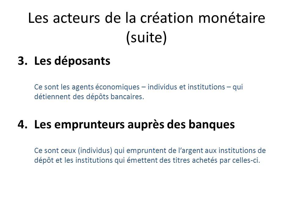 Les acteurs de la création monétaire (suite) 3.Les déposants Ce sont les agents économiques – individus et institutions – qui détiennent des dépôts ba