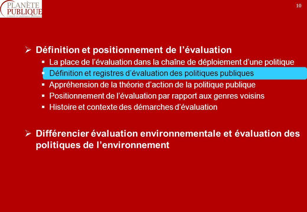 10 Définition et positionnement de lévaluation La place de lévaluation dans la chaîne de déploiement dune politique Définition et registres dévaluatio
