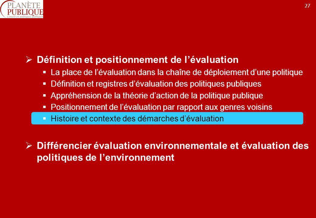 27 Définition et positionnement de lévaluation La place de lévaluation dans la chaîne de déploiement dune politique Définition et registres dévaluatio