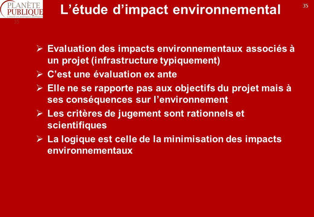 35 Létude dimpact environnemental Evaluation des impacts environnementaux associés à un projet (infrastructure typiquement) Cest une évaluation ex ant