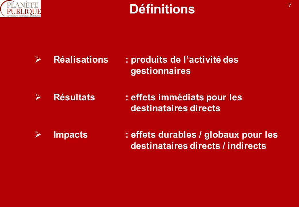 7 Définitions Réalisations: produits de lactivité des gestionnaires Résultats: effets immédiats pour les destinataires directs Impacts: effets durable