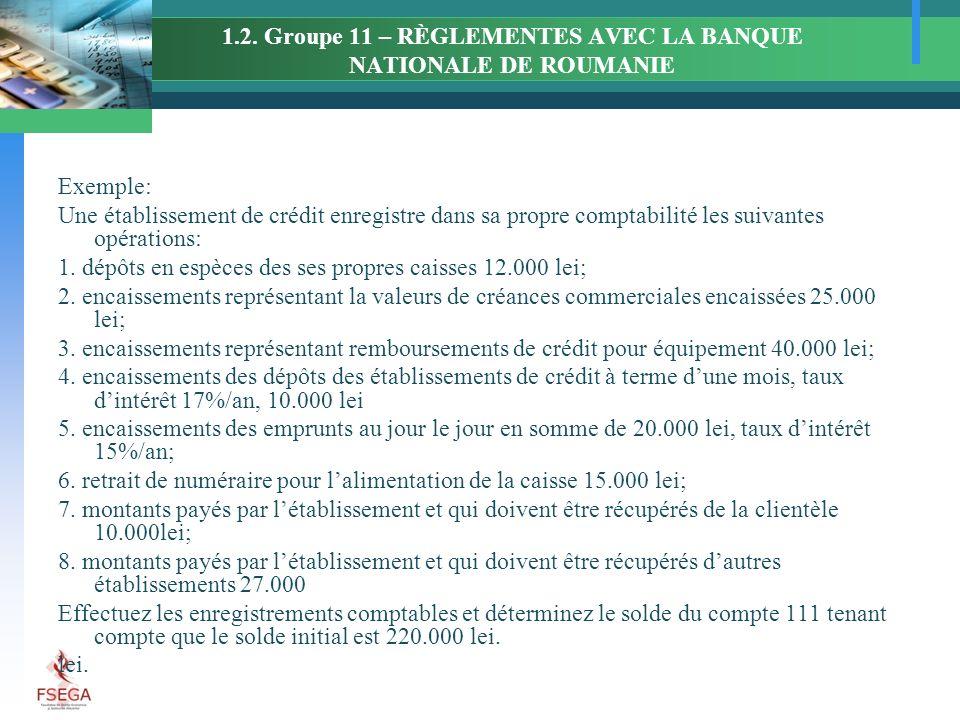1.2. Groupe 11 – RÈGLEMENTES AVEC LA BANQUE NATIONALE DE ROUMANIE Exemple: Une établissement de crédit enregistre dans sa propre comptabilité les suiv