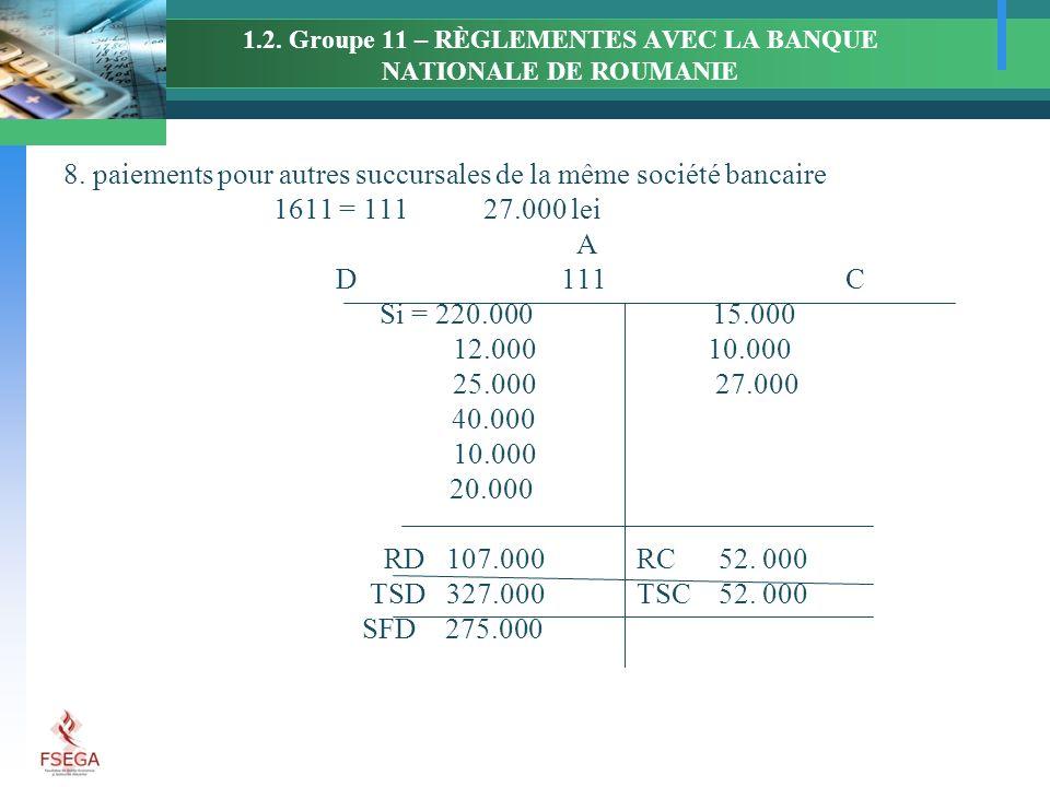 1.2. Groupe 11 – RÈGLEMENTES AVEC LA BANQUE NATIONALE DE ROUMANIE 8. paiements pour autres succursales de la même société bancaire 1611 = 11127.000 le