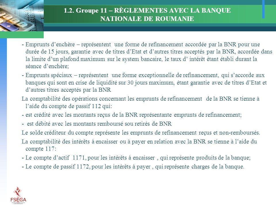 1.2. Groupe 11 – RÈGLEMENTES AVEC LA BANQUE NATIONALE DE ROUMANIE -Emprunts denchère – représentent une forme de refinancement accordée par la BNR pou