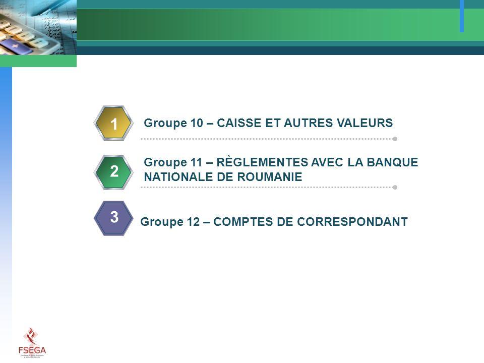 1 2 Groupe 10 – CAISSE ET AUTRES VALEURS Groupe 11 – RÈGLEMENTES AVEC LA BANQUE NATIONALE DE ROUMANIE 3 Groupe 12 – COMPTES DE CORRESPONDANT