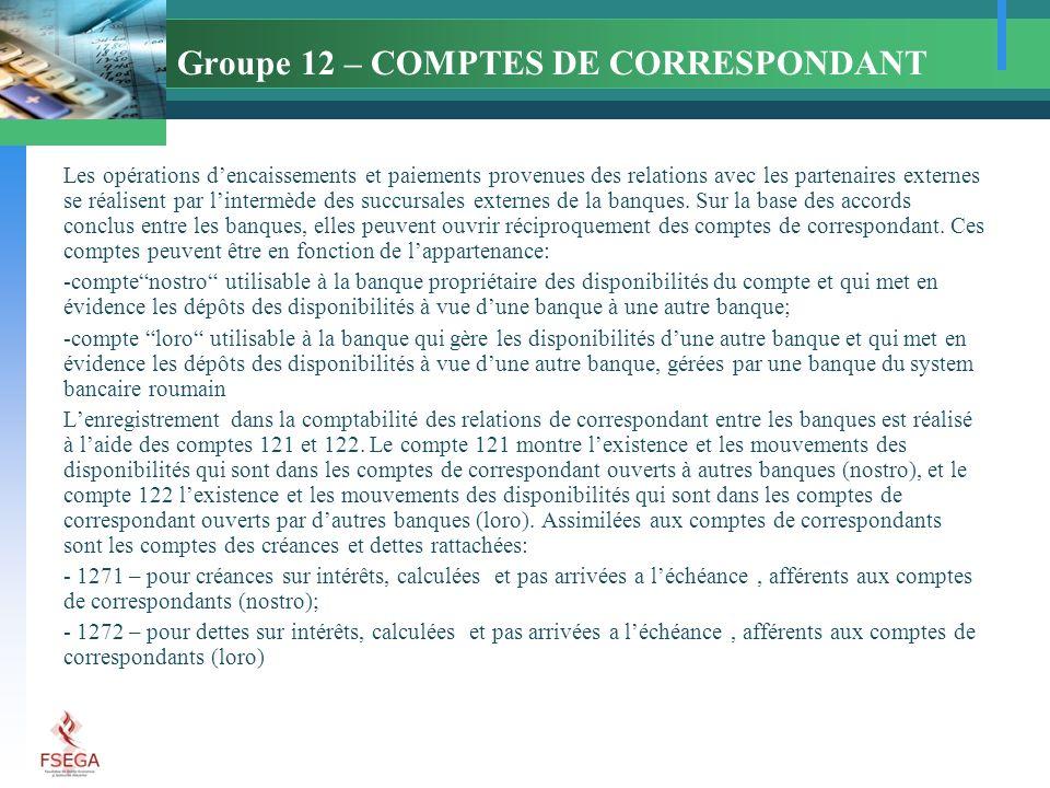 Groupe 12 – COMPTES DE CORRESPONDANT Les opérations dencaissements et paiements provenues des relations avec les partenaires externes se réalisent par lintermède des succursales externes de la banques.