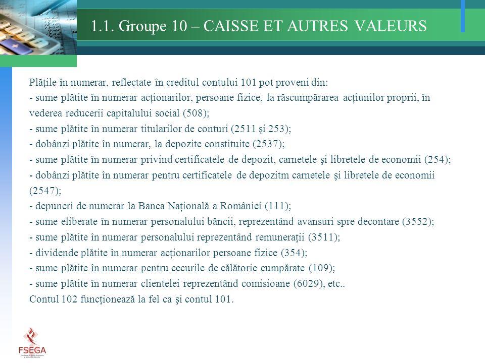 1.1. Groupe 10 – CAISSE ET AUTRES VALEURS Plăţile în numerar, reflectate în creditul contului 101 pot proveni din: - sume plătite în numerar acţionari
