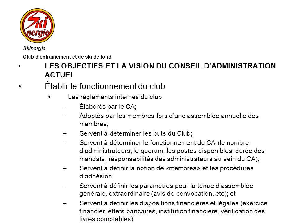 LES OBJECTIFS ET LA VISION DU CONSEIL DADMINISTRATION ACTUEL Établir le fonctionnement du club Les règlements internes du club –Élaborés par le CA; –A