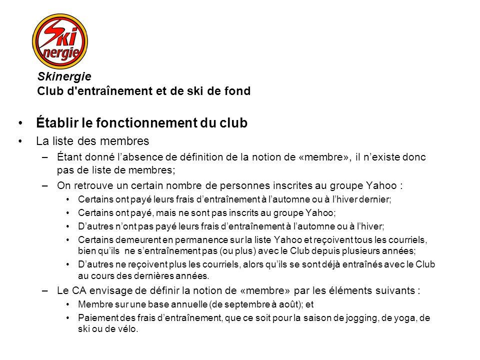 Établir le fonctionnement du club La liste des membres –Étant donné labsence de définition de la notion de «membre», il nexiste donc pas de liste de m