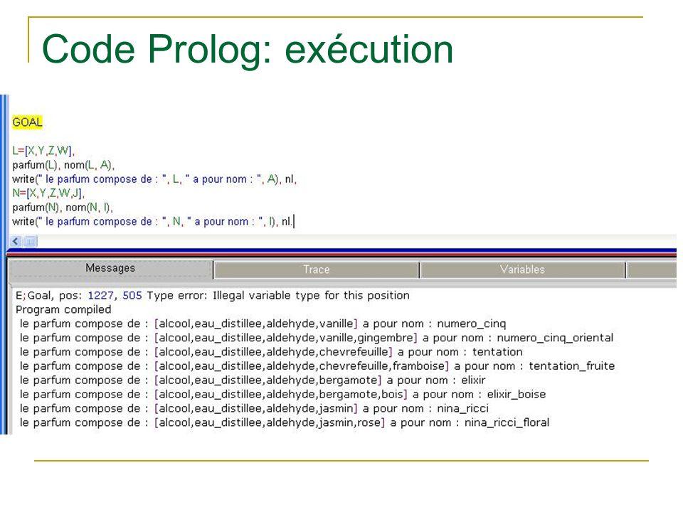 Code Prolog: exécution
