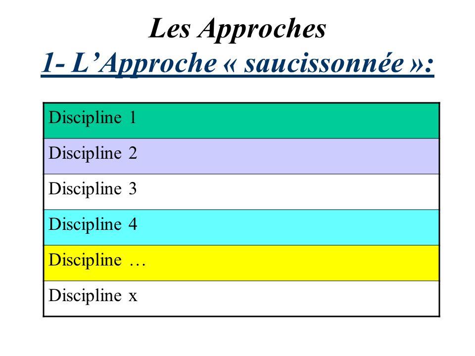 Les Approches 1- LApproche « saucissonnée »: Discipline 1 Discipline 2 Discipline 3 Discipline 4 Discipline … Discipline x