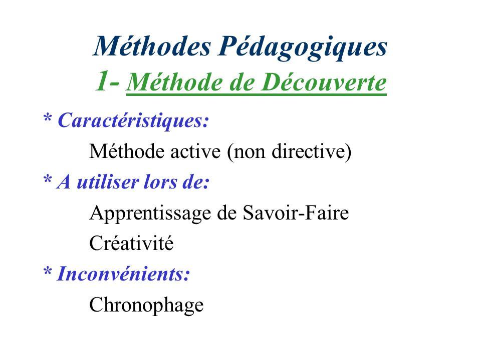 Méthodes Pédagogiques 1- Méthode de Découverte * Caractéristiques: Méthode active (non directive) * A utiliser lors de: Apprentissage de Savoir-Faire Créativité * Inconvénients: Chronophage