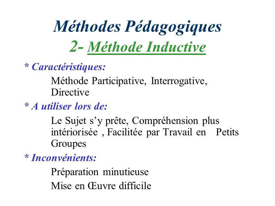 Méthodes Pédagogiques 2- Méthode Inductive * Caractéristiques: Méthode Participative, Interrogative, Directive * A utiliser lors de: Le Sujet sy prête
