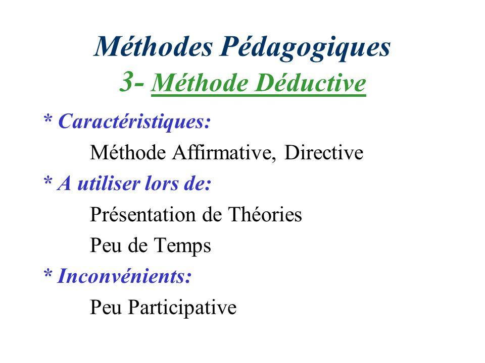 Méthodes Pédagogiques 3- Méthode Déductive * Caractéristiques: Méthode Affirmative, Directive * A utiliser lors de: Présentation de Théories Peu de Temps * Inconvénients: Peu Participative