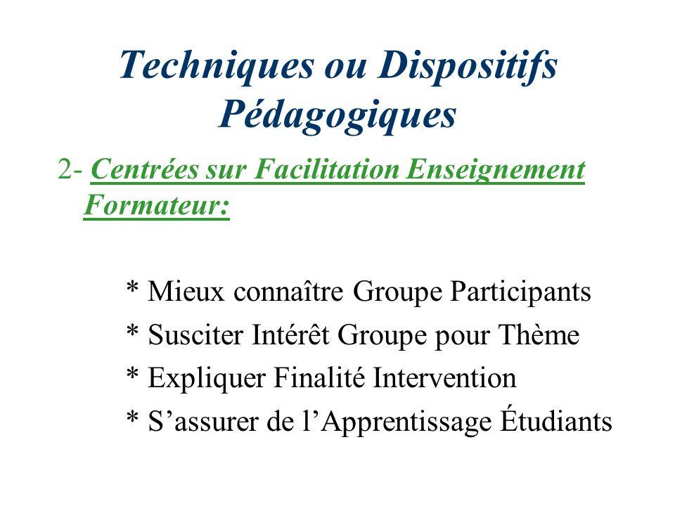 Techniques ou Dispositifs Pédagogiques 2- Centrées sur Facilitation Enseignement Formateur: * Mieux connaître Groupe Participants * Susciter Intérêt G