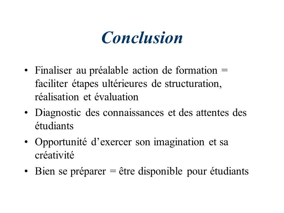 Conclusion Finaliser au préalable action de formation = faciliter étapes ultérieures de structuration, réalisation et évaluation Diagnostic des connai
