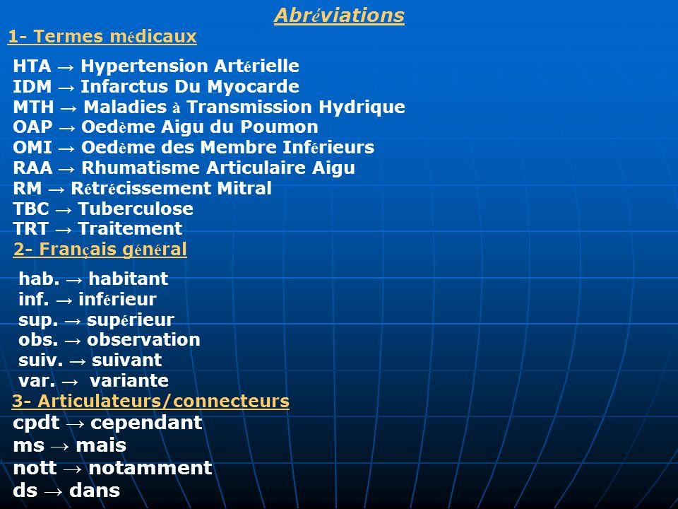 Abr é viations 1- Termes m é dicaux HTA Hypertension Art é rielle IDM Infarctus Du Myocarde MTH Maladies à Transmission Hydrique OAP Oed è me Aigu du