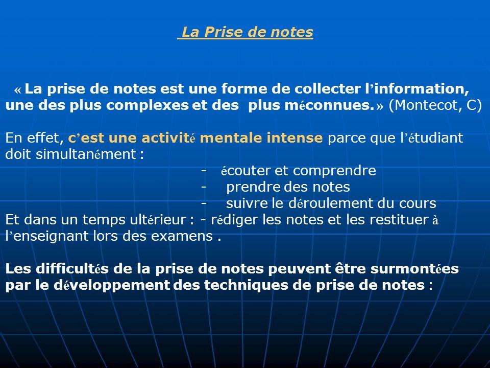 La Prise de notes « La prise de notes est une forme de collecter l information, une des plus complexes et des plus m é connues. » (Montecot, C) En eff
