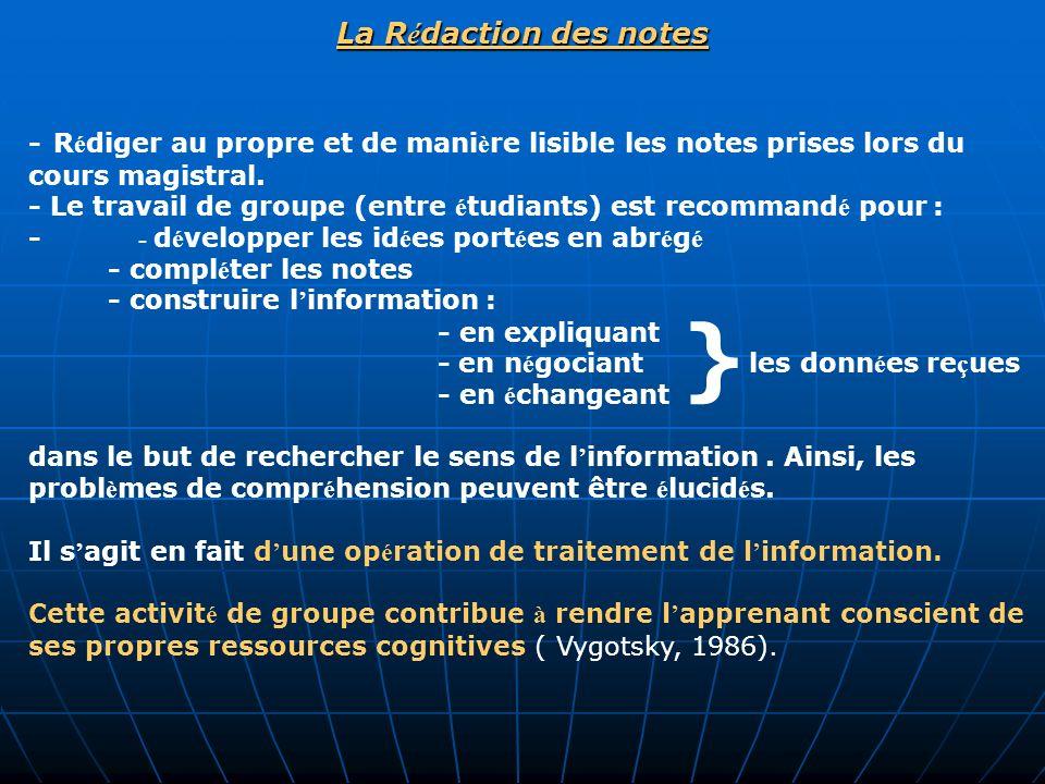 La R é daction des notes - R é diger au propre et de mani è re lisible les notes prises lors du cours magistral. - Le travail de groupe (entre é tudia