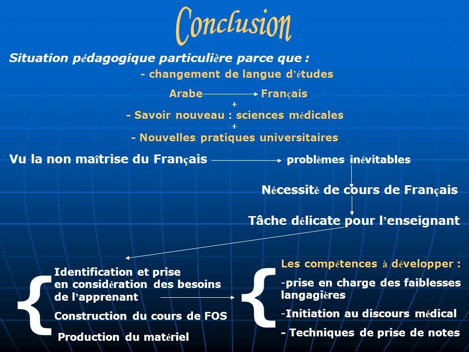 Situation p é dagogique particuli è re parce que : - changement de langue d é tudes Arabe Fran ç ais + - Savoir nouveau : sciences m é dicales + - Nou