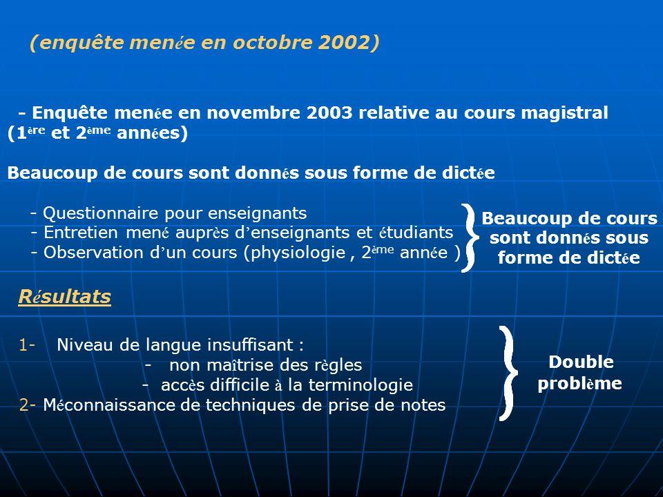 (enquête men é e en octobre 2002) - Enquête men é e en novembre 2003 relative au cours magistral (1 è re et 2 è me ann é es) Beaucoup de cours sont do