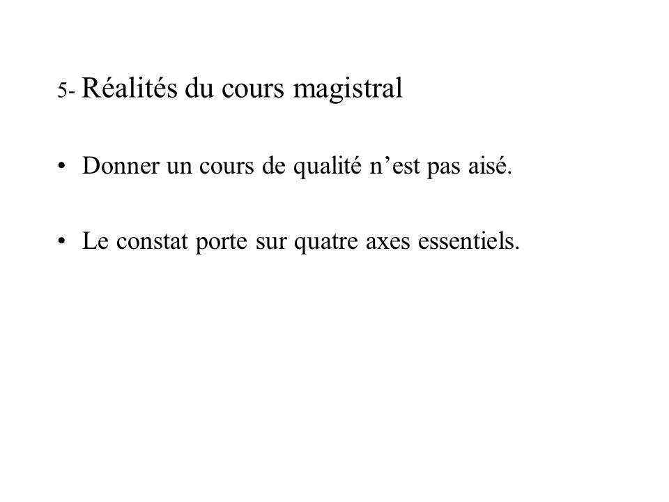 5- Réalités du cours magistral Donner un cours de qualité nest pas aisé.