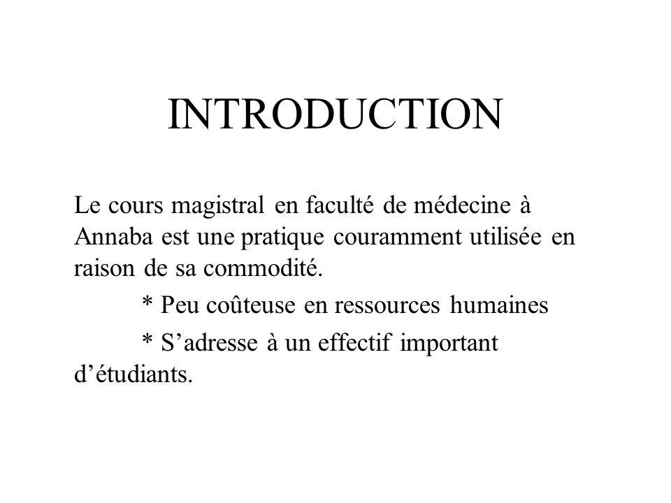 INTRODUCTION Le cours magistral en faculté de médecine à Annaba est une pratique couramment utilisée en raison de sa commodité. * Peu coûteuse en ress
