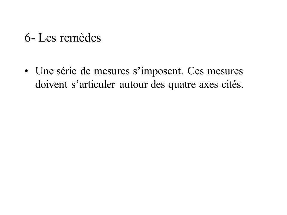 6- Les remèdes Une série de mesures simposent.