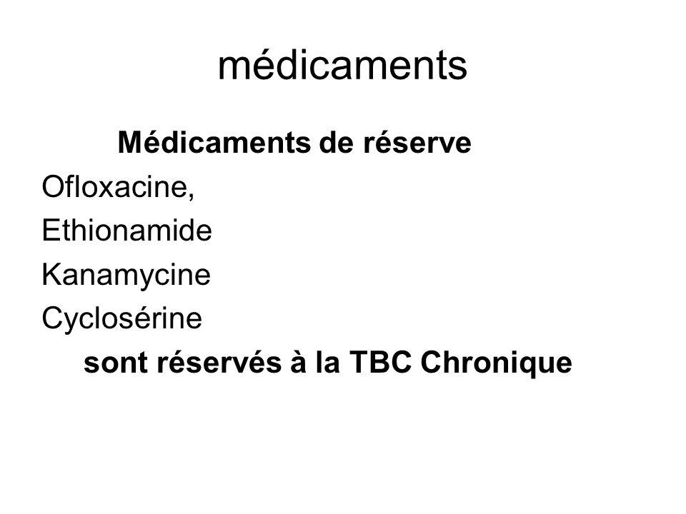 médicaments Médicaments de réserve Ofloxacine, Ethionamide Kanamycine Cyclosérine sont réservés à la TBC Chronique