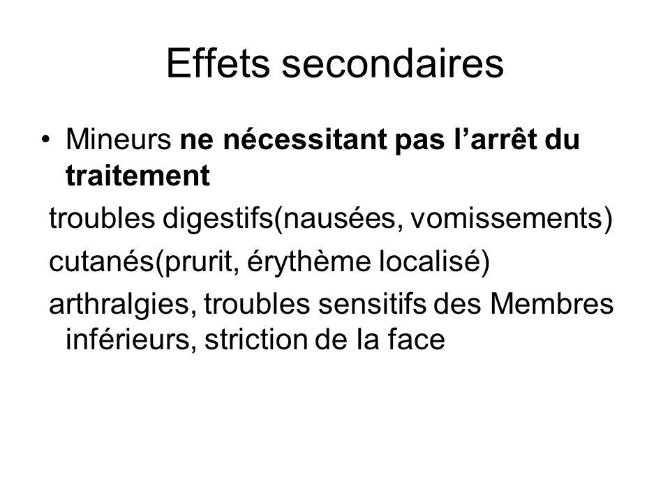 Effets secondaires Mineurs ne nécessitant pas larrêt du traitement troubles digestifs(nausées, vomissements) cutanés(prurit, érythème localisé) arthra
