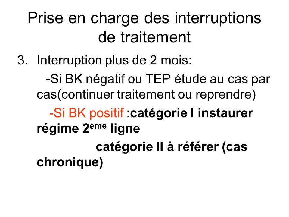 Prise en charge des interruptions de traitement 3.Interruption plus de 2 mois: -Si BK négatif ou TEP étude au cas par cas(continuer traitement ou repr