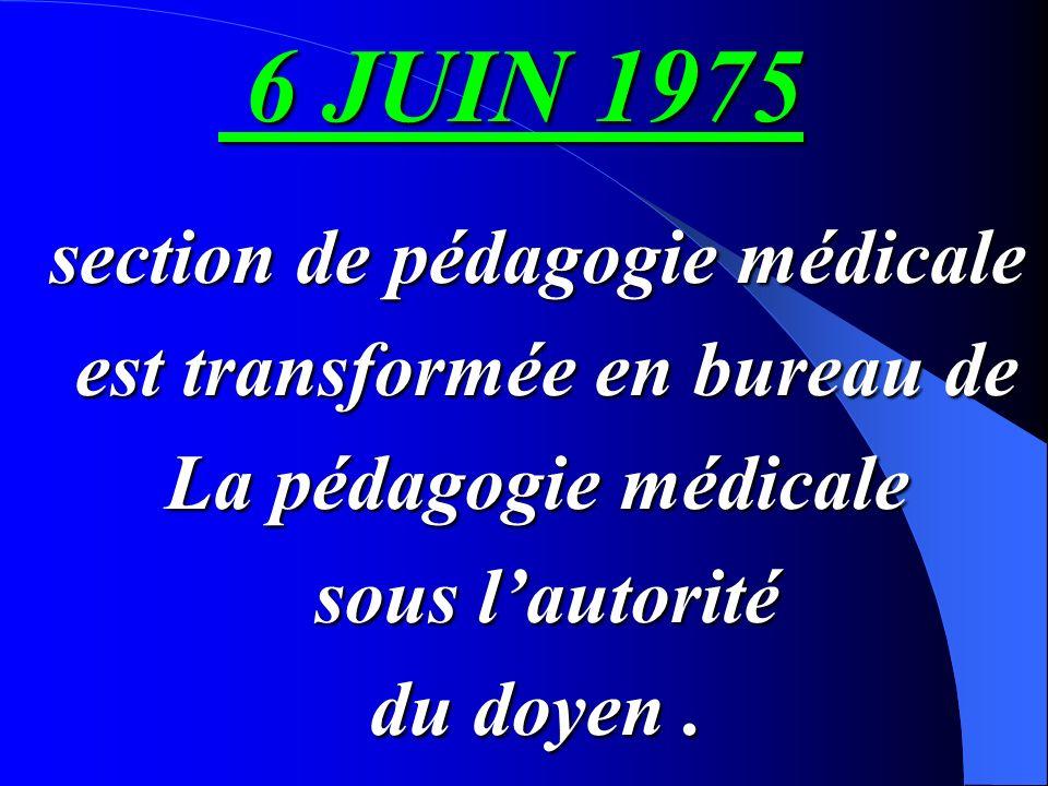 conseil de la faculté approuve la création dune section de la pédagogie rattachée au département de médecine sociale et préventive 14 14 mars 1973