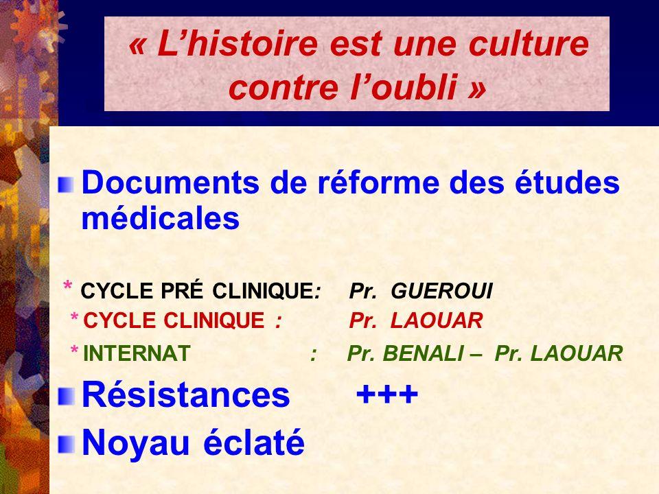 Documents de réforme des études médicales * CYCLE PRÉ CLINIQUE: Pr. GUEROUI * CYCLE CLINIQUE : Pr. LAOUAR * INTERNAT : Pr. BENALI – Pr. LAOUAR Résista