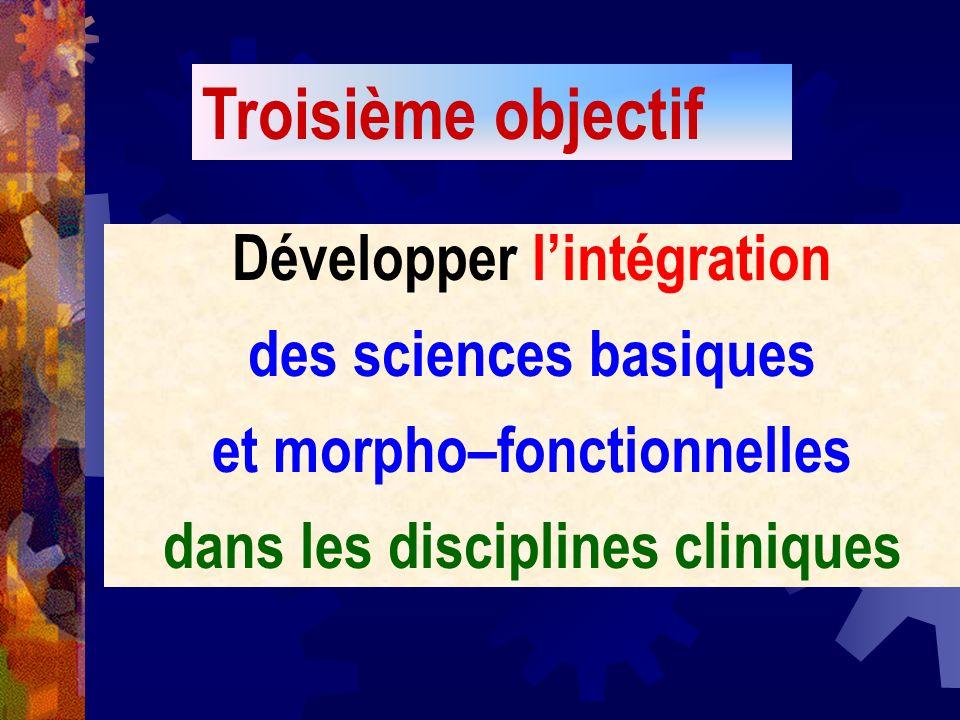Développer lintégration des sciences basiques et morpho–fonctionnelles dans les disciplines cliniques Troisième objectif