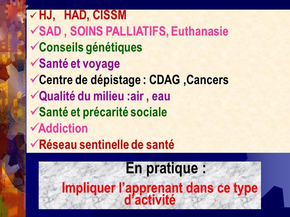 HJ, HAD, CISSM SAD, SOINS PALLIATIFS, Euthanasie Conseils génétiques Santé et voyage Centre de dépistage : CDAG,Cancers Qualité du milieu :air, eau Sa