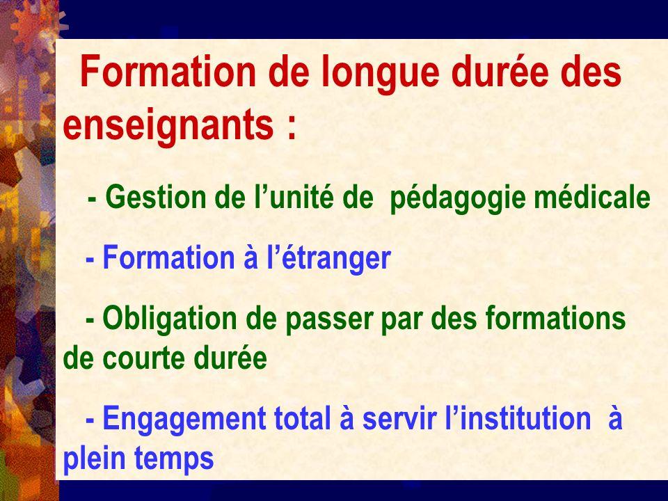 Formation de longue durée des enseignants : - Gestion de lunité de pédagogie médicale - Formation à létranger - Obligation de passer par des formation