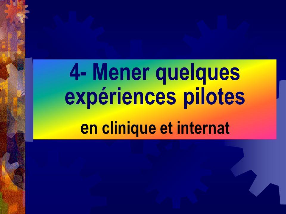 4- Mener quelques expériences pilotes e n clinique et internat