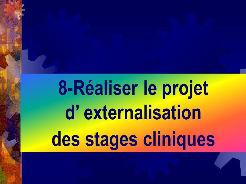 8-Réaliser le projet d externalisation des stages cliniques