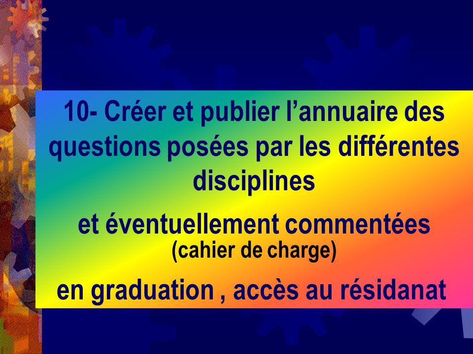 10- Créer et publier lannuaire des questions posées par les différentes disciplines et éventuellement commentées (cahier de charge) en graduation, acc